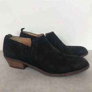 Franco Sarto leather upper black suede booties